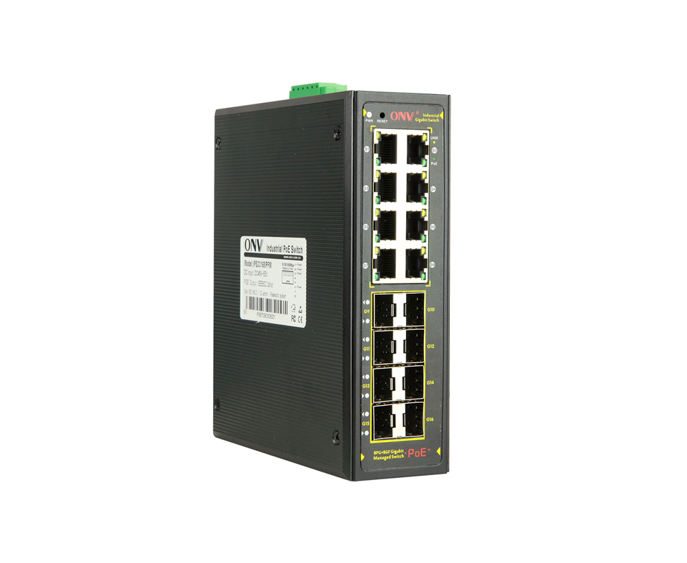 Full gigabit 16-port L2+ managed industrial PoE switch