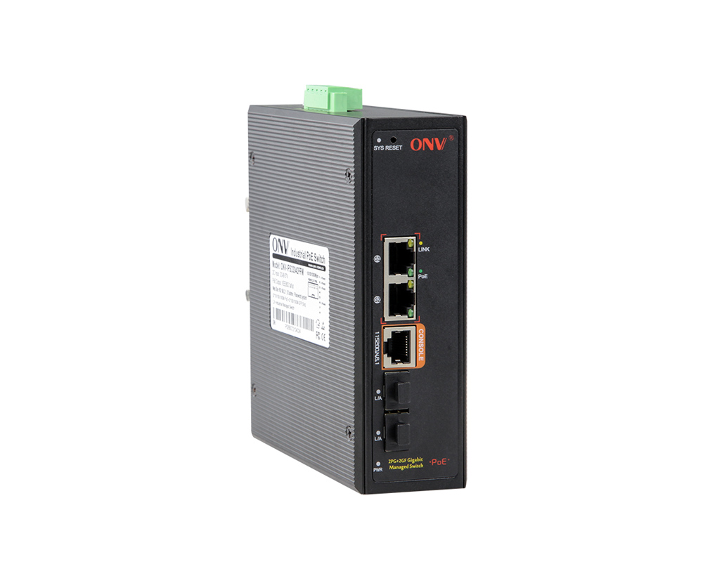 Full gigabit 4-port managed industrial PoE Fiber switch